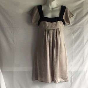 Ted Baker beige/champagne textured silk dress Sz 1